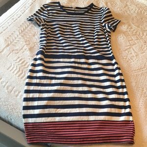 Old Navy navy, coral, and white striped dress.